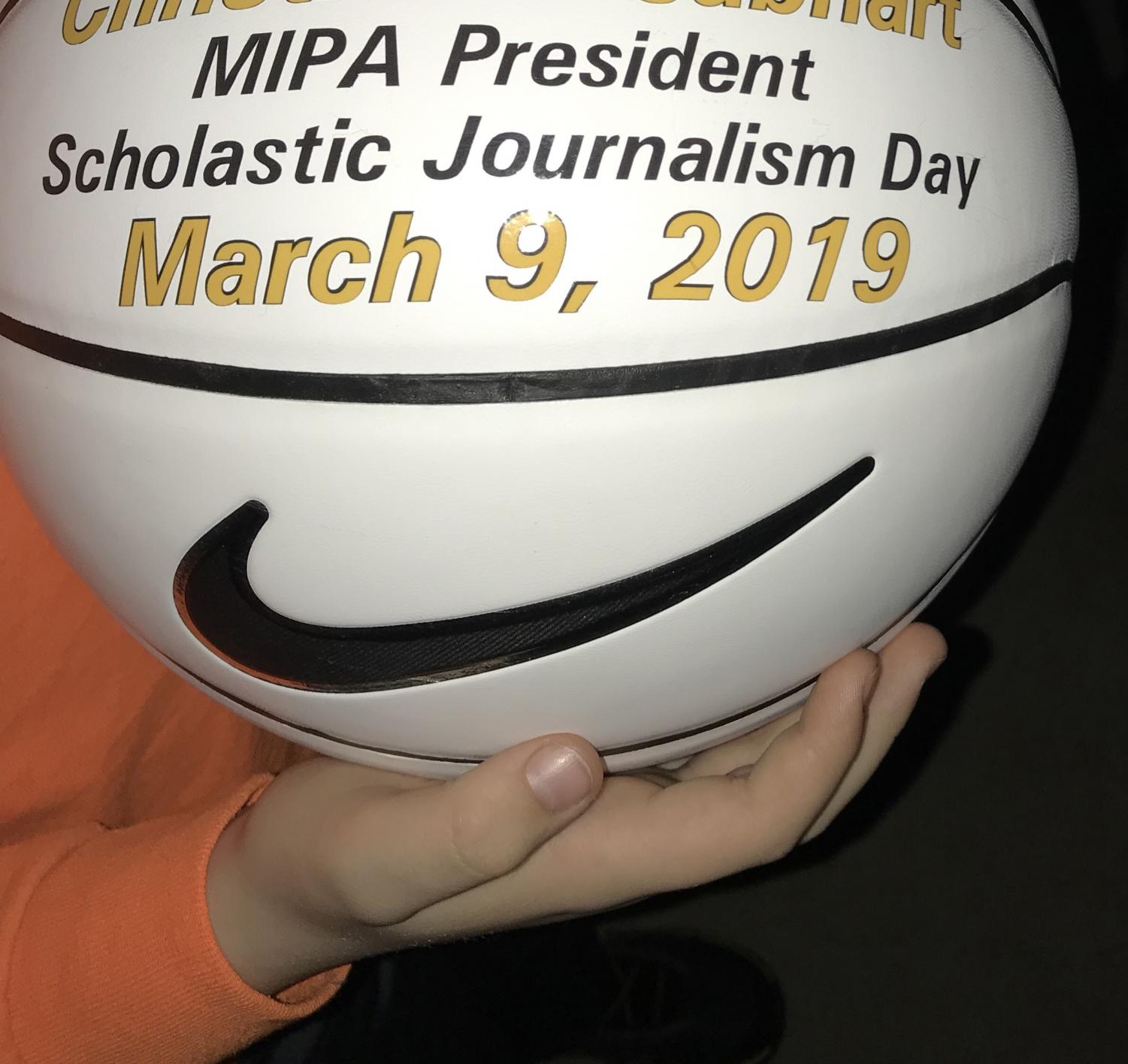 The+official+game+ball+was+presented+in+honor+of+the+50th+MIPA+J-Day.+