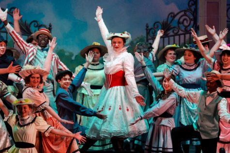 "Caption: PRACTICALLY PERFECT Junior Abiagael Parks poses as Mary Poppins, along with the rest of the cast. Mary Poppins was the first production performed in the new Performing Arts Center after two years of construction. ""This show had a lot more challenges to overcome, especially with flying and the new auditorium, so I feel like in that regard we really stepped it up this year,"" Parks said."