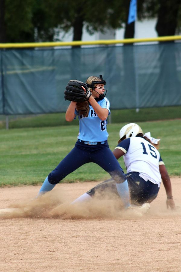 Sophomore Haley Brown catches the ball on  Wednesday, Sept. 9. This was Brown's 11 year playing softball.